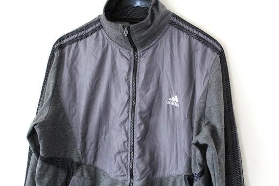 Vintage Adidas Sweatshirt grau Windbreaker Trainingsanzug seltene Jacke 90er Jahre Sport Jacke Tennis Top Size M