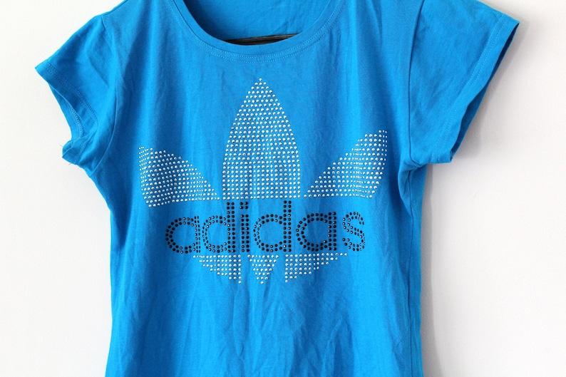 Trefoil Adidas T Sleeves Shirt Blue Short Vintage Etsy S1w7OxqnR