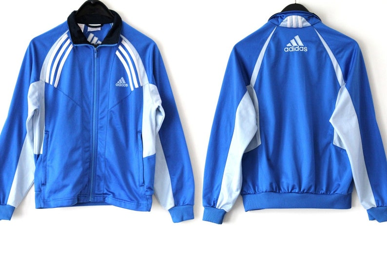 1bc96bdda9bbc Vintage Adidas Windbreaker Blue Gray Adidas Jacket Rare Adidas Sweatshirt  Embroidered Adidas Logo Adidas Sport Jacket Hip Hop Streetwear