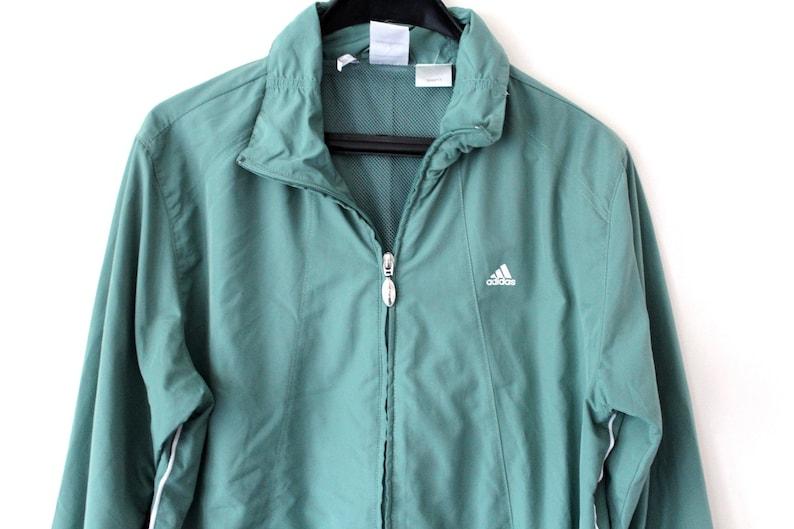 8ff01f429ba4 Vintage Adidas Windbreaker Green Adidas Jacket Zip Up Adidas