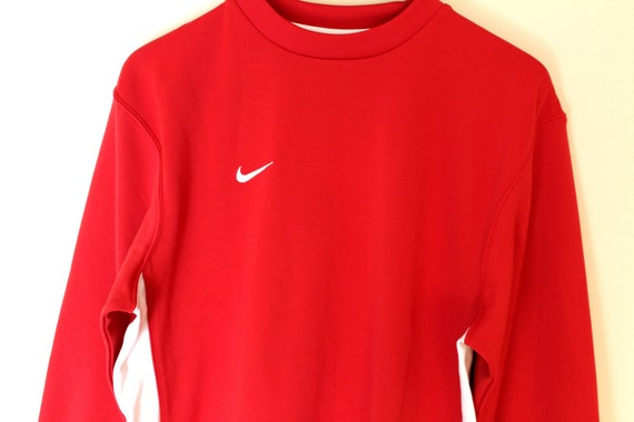 e7abb0f861d4 Vintage 90 s Nike Sweatshirt Red White Nike Jumper Hip Hop