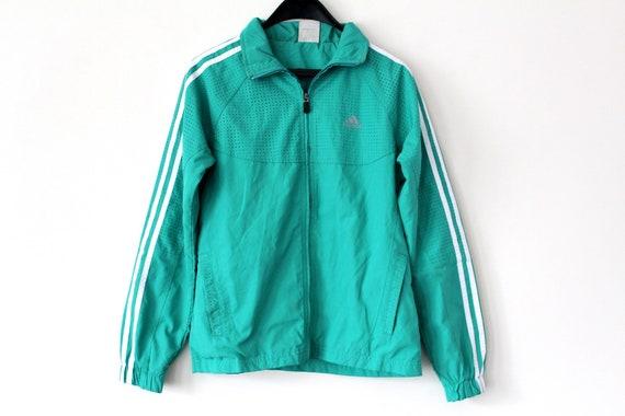 90 S Adidas Windbreaker Green White Adidas Jacket Hip Hop Etsy