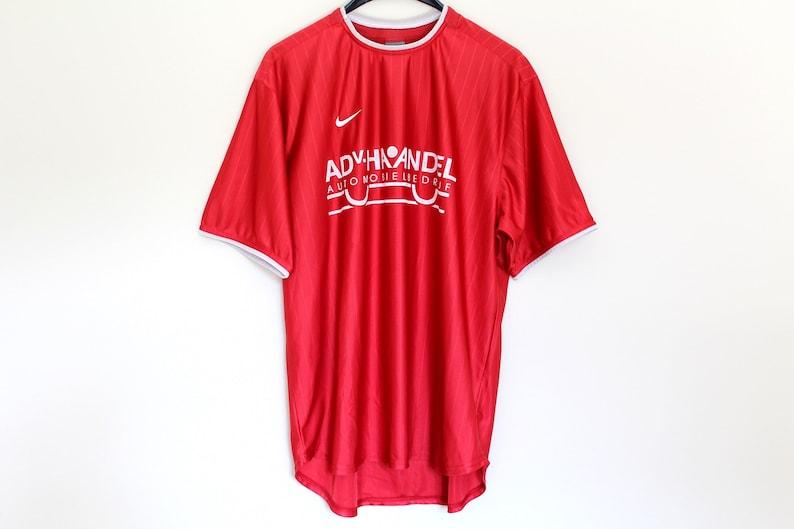 7cb215c49 90's Red Nike Shirt Stripe X Large Football Shirt Vintage   Etsy
