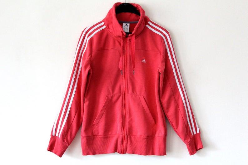 d52316df8630c Vintage Adidas Jacket Coral Adidas Windbreaker Rare Adidas Sweatshirt  Adidas Sport Jacket Retro Hip Hop Adidas Tennis Adidas Tracksuit Sz M