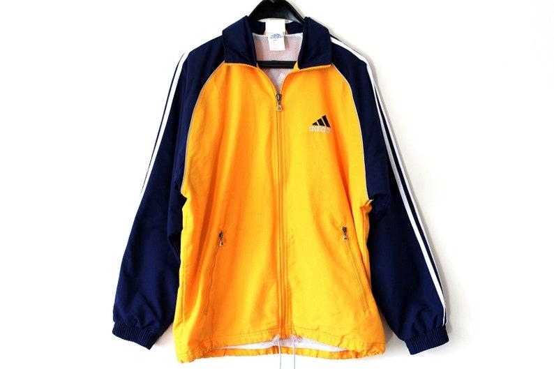 Orange Blue Adidas Windbreaker Vintage Adidas Jacket Adidas Windrunner Hip Hop Streetwear Adidas Tracksuit Big Logo Adidas Sweatshirt