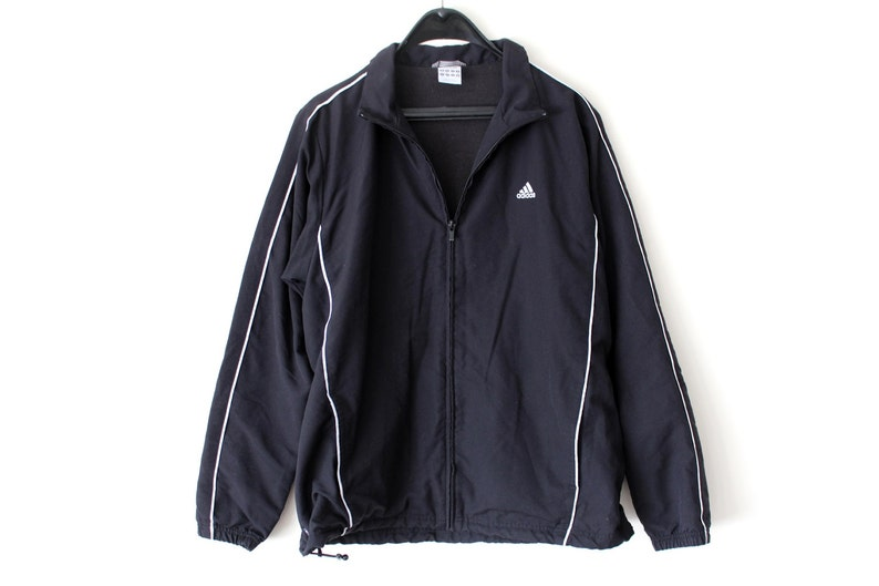 7dff329442e5b Vintage Adidas Windbreaker Adidas Track Jacket Black White Adidas  Sweatshirt Hip Hop Streetwear Adidas Track Top Large Size