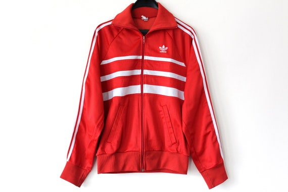 80er Adidas Jacke Vintage Adidas seltene rote weiße Adidas   Etsy f7c933809a