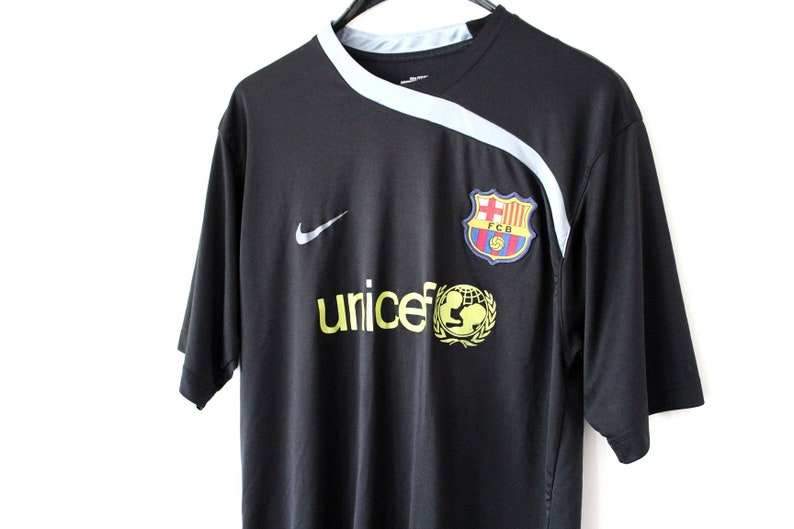 b0710f9190fc Vintage FC Barcelona Shirt Black Yellow Spain Soccer Jersey