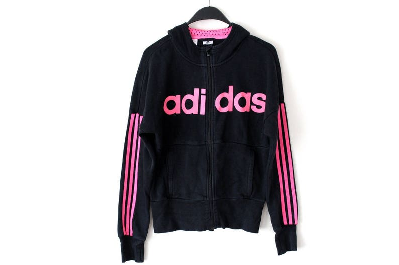 79c30a5944da Vintage Adidas Track Jacket Black Pink Adidas Sweatshirt Hip