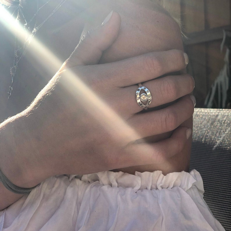Eye Ring \u2022 Rainbow Moonstone Ring  \u2022 Meditation Ring \u2022 Moonstone Ring \u2022 Protection Ring \u2022 Chakra Ring \u2022 Ajna Ring \u2022 Sterling Silver Ring