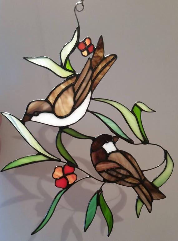 Glas In Lood Raamhanger Vogels Musjes Raamdecoratie Glas Etsy