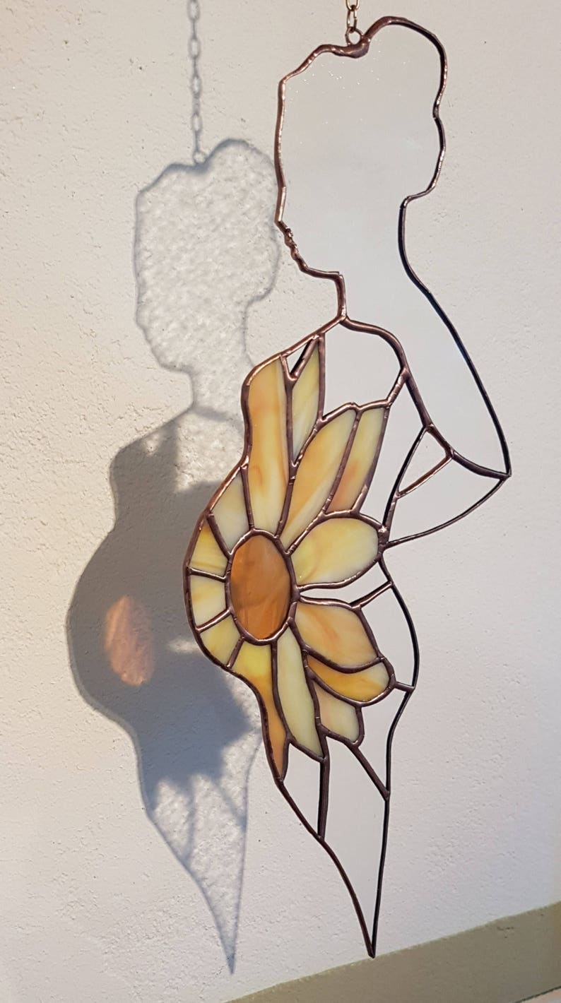 Stained glass suncatcher Pregnancy gift // stained glass image 3