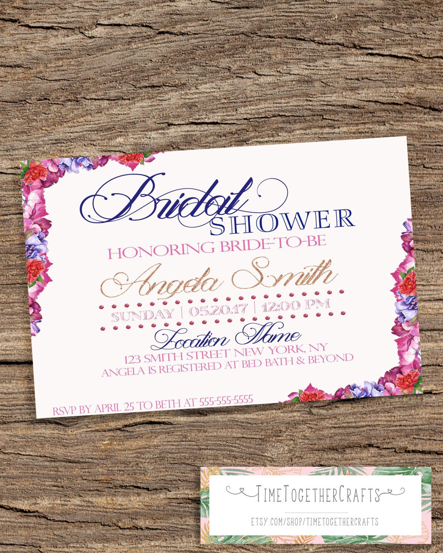 Floral Bridal Shower Invitation Glitter Invitation Surprise | Etsy