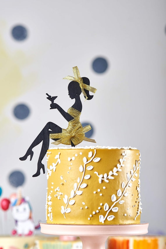 Tremendous Birthday Girl Cake Topper Sitting Woman Silhouette Girl Etsy Personalised Birthday Cards Beptaeletsinfo