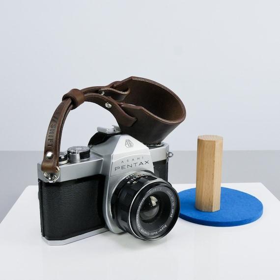 "Brown Leather Camera Strap | Rivet | Minimal Camera Wrist Strap 15mm 5/8"" | Mirrorless | Dslr | Canon | Handmade Leather Camera Hand Strap by Etsy"