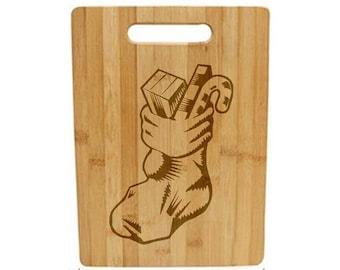 Laser Engraved Cutting Board - 041 - Stocking