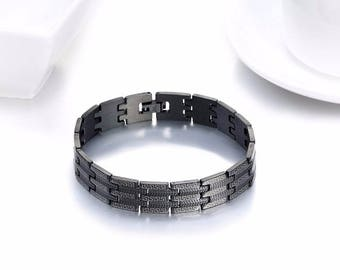 Mens Black Steel Bracelet 23cm - Greek Key Design