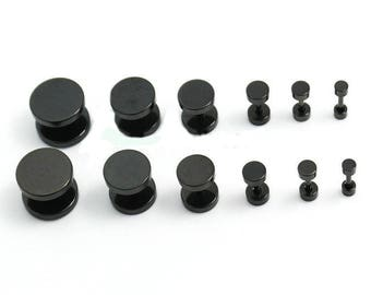 Black Fake Ear Plugs - Stainless Steel & Choice of Size