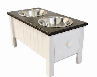 Dog Food Station With Storage | Raised Dog Food Bowl | Handmade Dog Feeder  With Storage
