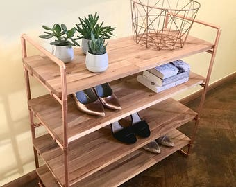 Bookcase Copper Shelf Bookshelf oak shelf shoe rack oak Copper Pipe Industrial