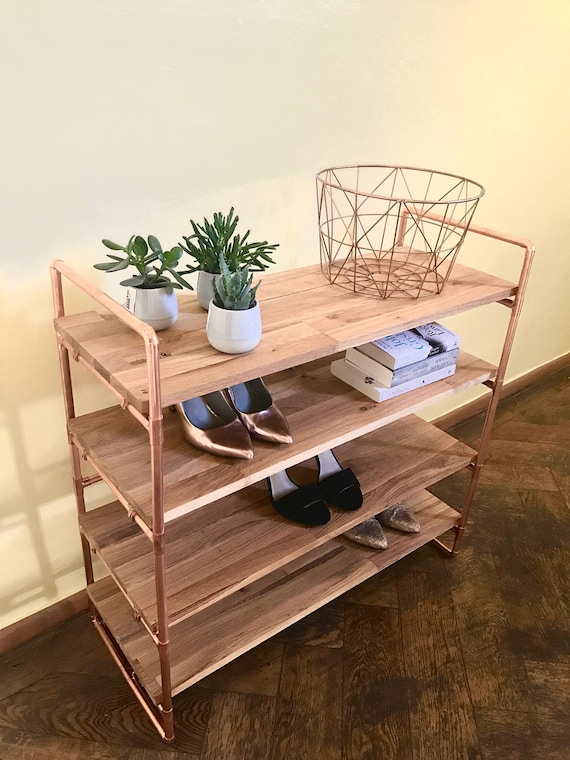 Bookcase Copper Shelf Bookshelf Oak Shoe Rack