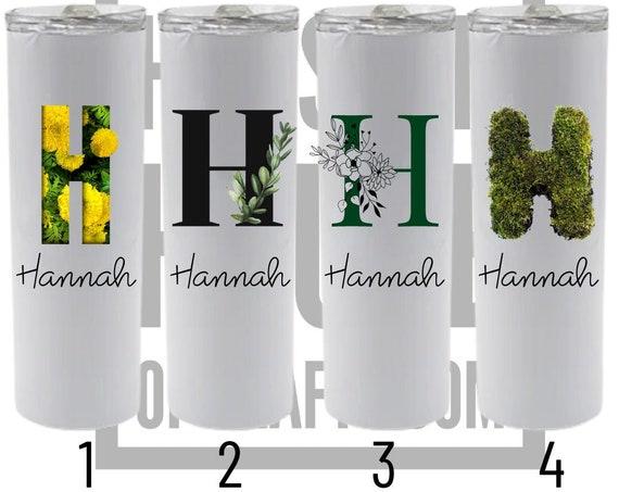 Custom Letter Tumbler, Floral Letter Tumbler, Custom Name Tumbler, Letter and Name Tumbler