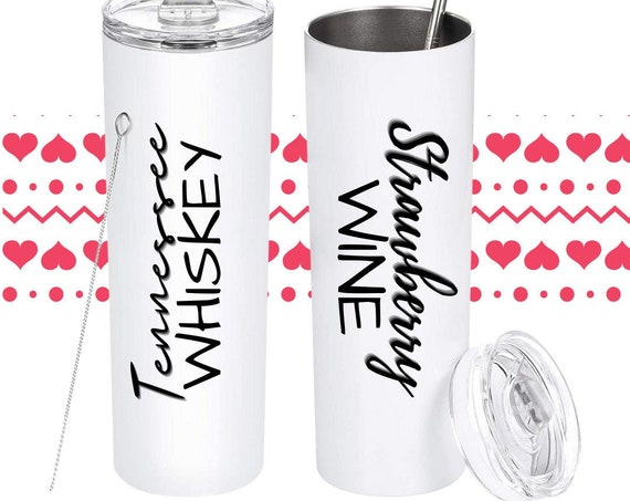 Tennessee Whiskey Tumbler, Strawberry WIne Tumbler, Matching Couples, Matching Cups, Matching Tumblers, Matching Gifts, Valentines Gifts