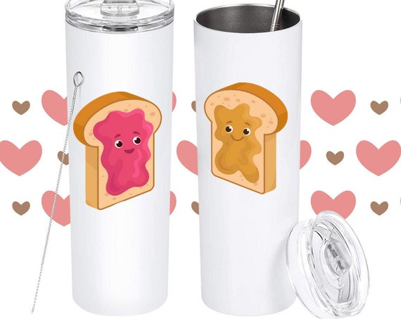 Peanut Butter and Jelly Tumblers, PB AND J Couples Tumblers, Best Friends Tumblers, BFF, Valentines Day Gift for Friends, Anniversary Couple