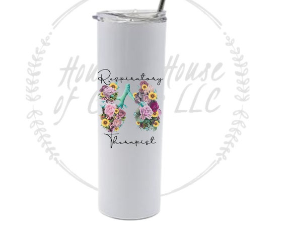 Respiratory Therapist Tumbler, RRT, RT, Floral Lungs Tumbler, RT Gift