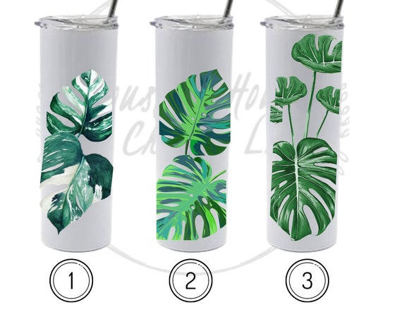 Monstera Deliciosa Tumbler, Albo Monstera Deliciosa Tumbler, Plant Tumbler, Plant Gift