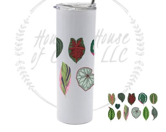 Calathea Tumbler, Plant Tumbler, Calathea Foliage Tumbler, Houseplant Tumbler