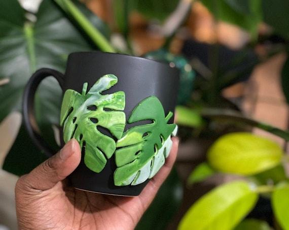 Monstera Coffee Cup, Albo Monstera Gift, Monstera Coffee Mug, Plant Tumbler, Plant Gift, Variegated Monstera Cup, Plant Coffee Mug,