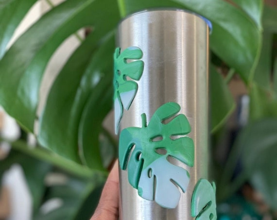 Monstera Tumbler, Albo Monstera Gift, Monstera Tumbler,Plant Tumbler, Plant Gift, Variegated Monstera Cup, Stainless Steel 20 oz, Skinny Cup