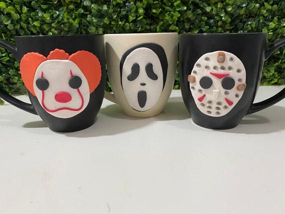 Jason Mug, Jason Cup, Scream Mug, Scream Cup, It Cup, It Mug, Horror Coffee Mug, Halloween Mug, Halloween Coffee Mug, Halloween Clay Mug
