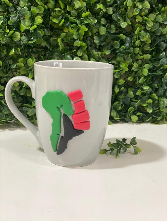 Africa Clay Mug, Africa Mug, Africa Cup, Africa Clay Cup, Red Green Black Cup, Red Green Black Africa Mug