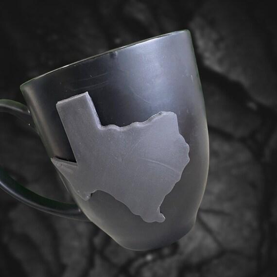 Texas Clay Mug, Texas Clay Cup, Texas Gift Cup, Texas Gift Mug, Texas Gifts, Black Mug, Black Mug