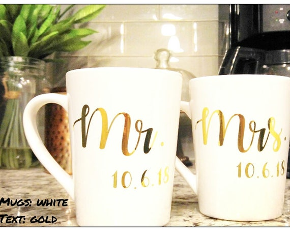 Mr. and Mrs. Coffee Mugs His and Hers Coffee Mug Custom Coffee Mug Personalized Coffee Mug Wedding Gift Bridal Shower Gift Set Of Mugs