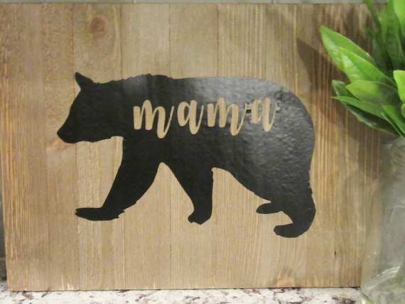 Mama Bear Sign Personalized Wooden Sign Farmhouse Decor Rustic Decor Wall Art Decor Home Decor Art Wooden Art Mothers Day Gift Wood Sign