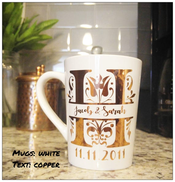 Monogrammed Mug Custom Coffee Mug Bride and Groom Mugs Bridal Shower Gift Anniversary Gift Modern Coffee Mug Office Coffee Mug Mug Gift