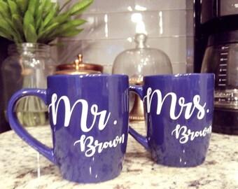 Mr. and Mrs. Coffee Mugs Royal Blue Mugs His and Hers Coffee Mug Custom Coffee Mug Personalized Coffee Mug Wedding Gift Bridal Shower Gift