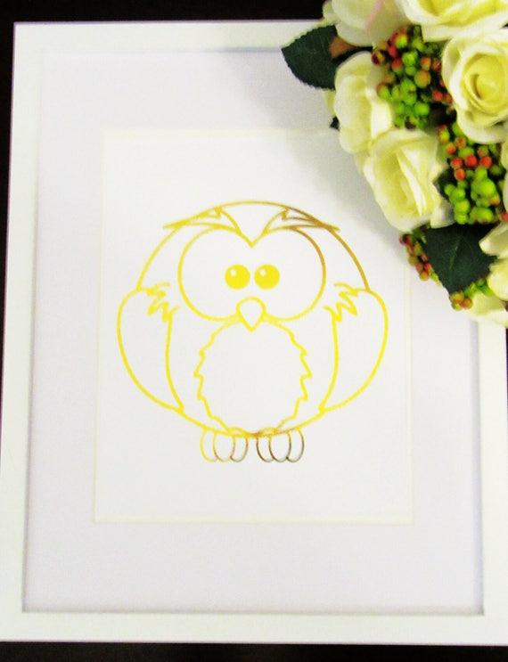 Framed Gold Foil Owl Wall Art Owl Wall Art Nursery Wall Art Nursery Art Baby Shower Gift Owl Art Nursery Decor Framed Wall Art