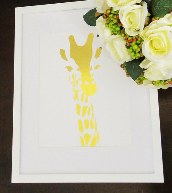 Framed Gold Foil Giraffe Wall Art Giraffe Wall Art Nursery Wall Art Nursery Art Baby Shower Gift Giraffe Art Nursery Decor Framed Wall Art