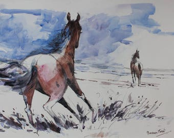 Running Horse (Energy)  -Archival Print from an Original Watercolor Painting