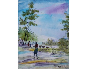 Cowherd  at my village - Archival Print from an Original  Watercolor Painting