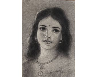 Indian Girl  - Archival Print from an Original Charcoal Painting