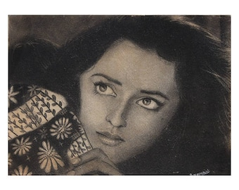 Beautiful Woman in Charcoal - Archival Print from a Charcoal Painting