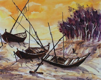 Boats at my home town beach -Archival Print from an Original Watercolor Painting