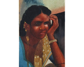 Thinking Deep, Indian Woman - Archival Print from an Original  Watercolor Painting