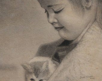 Girl with Cat - Archival Print from an Original Charcoal Painting