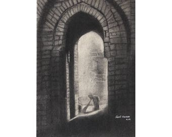 Fort Front Door, at Home Town - Archival Print from an Original Charcoal Painting